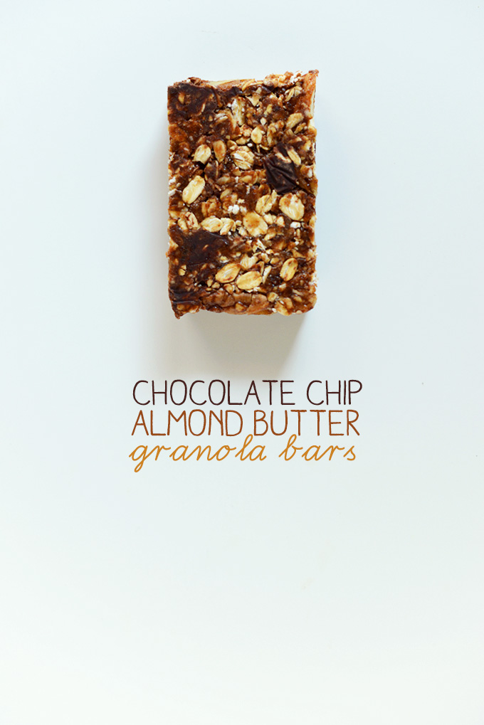 Crunchy Chocolate Chip Almond Butter Granola Bar on a white background