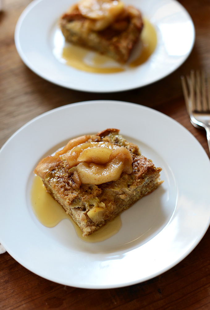 Plates with slices of Cinnamon Apple French Toast Bake for breakfast