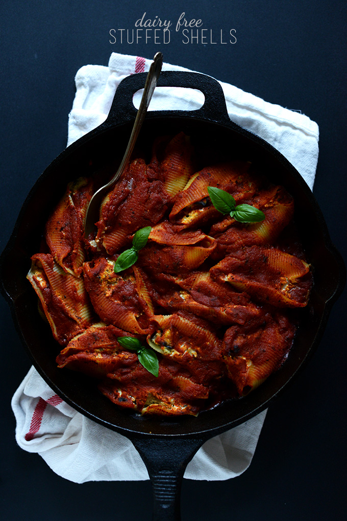 Cast-iron skillet filled with dairy-free stuffed shells