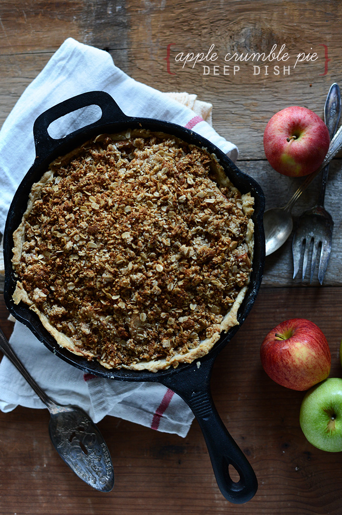 Skillet filled with a batch of our Deep Dish Apple Crumble Pie recipe