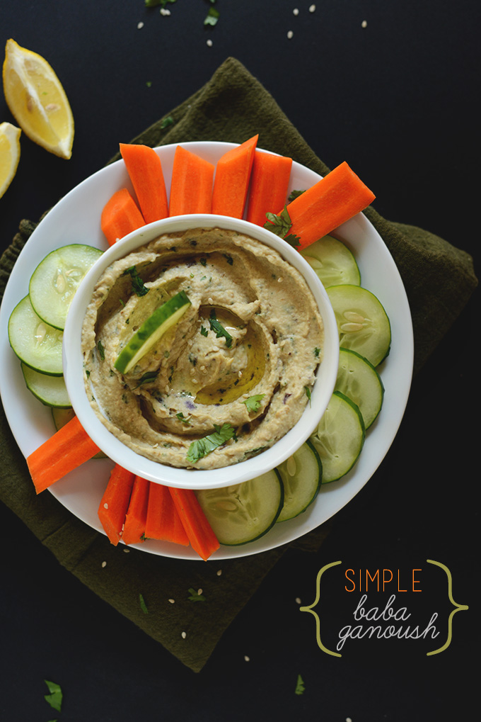 Sliced veggies and a bowl of our Easy Baba Ganoush