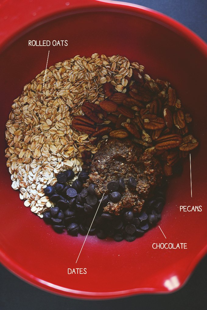 Bowl of ingredients for making our Easy Granola Bars recipe