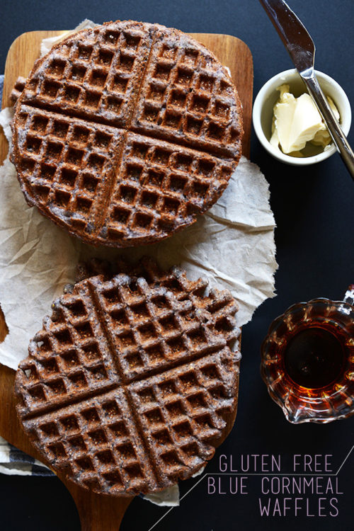 Blue Cornmeal Waffles and toppings