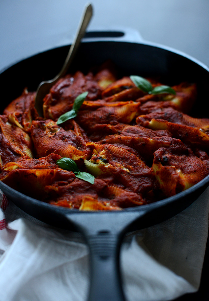 Skillet of Healthy Stuffed Shells made with tofu and eggplant