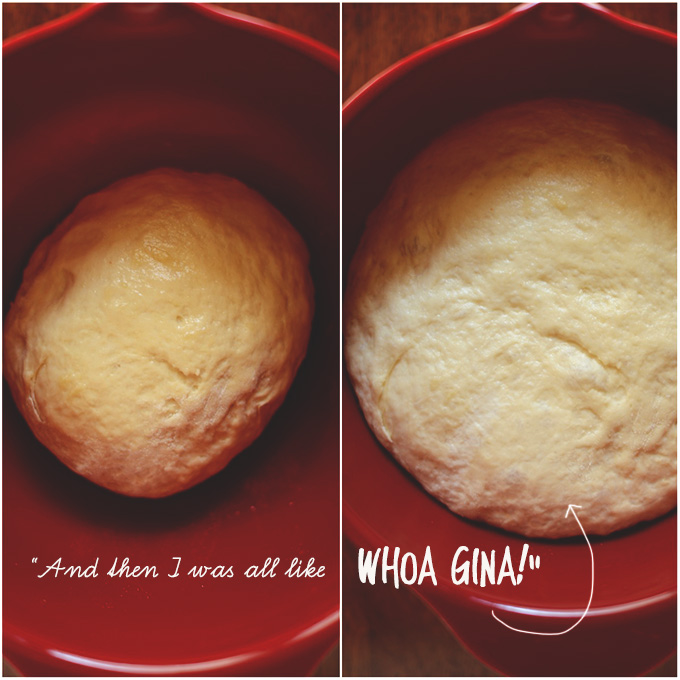 Showing before and after pictures of proofing cinnamon roll dough