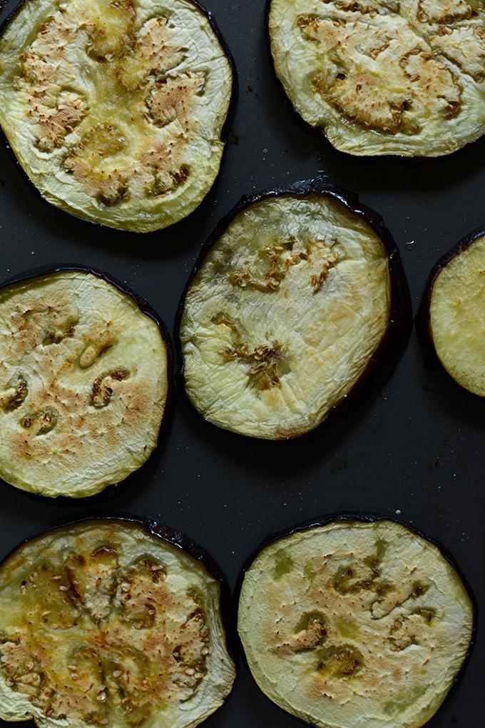 Baking sheet with roasted eggplant slices