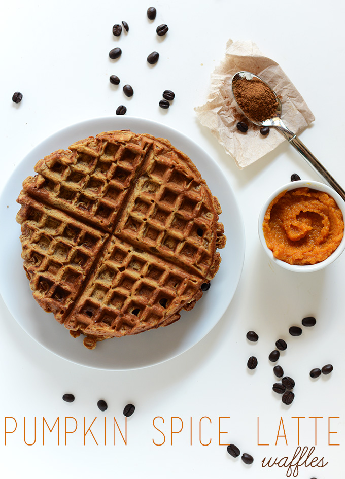 Stack of Pumpkin Spice Waffles made with coffee