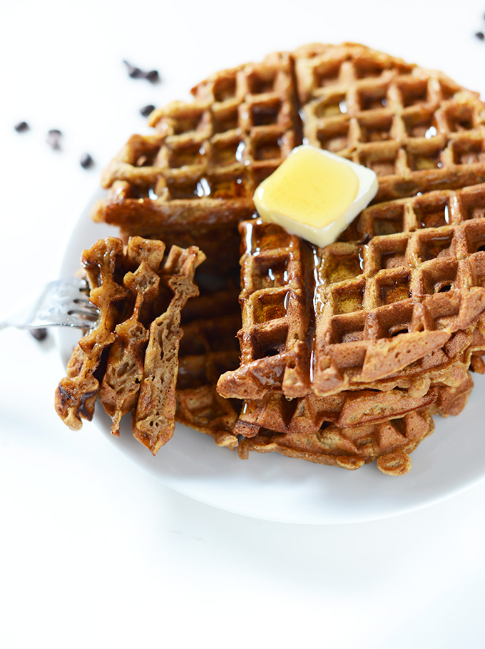 Grabbing a stacked bite of Pumpkin Spice Waffles