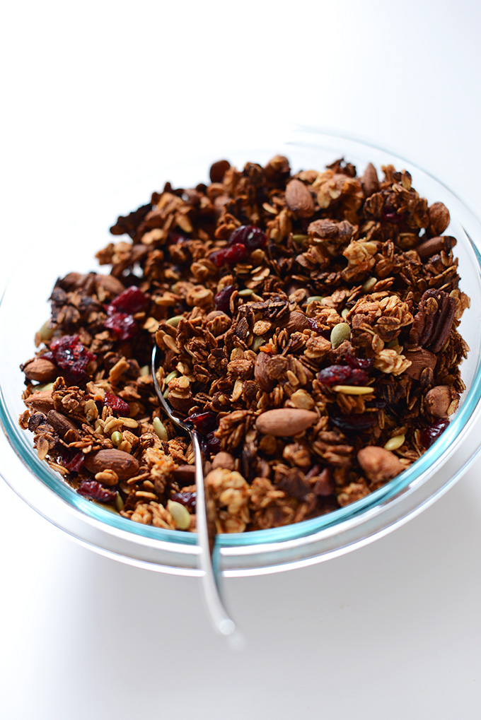 Big bowl of our Sweet Potato Cranberry Granola recipe