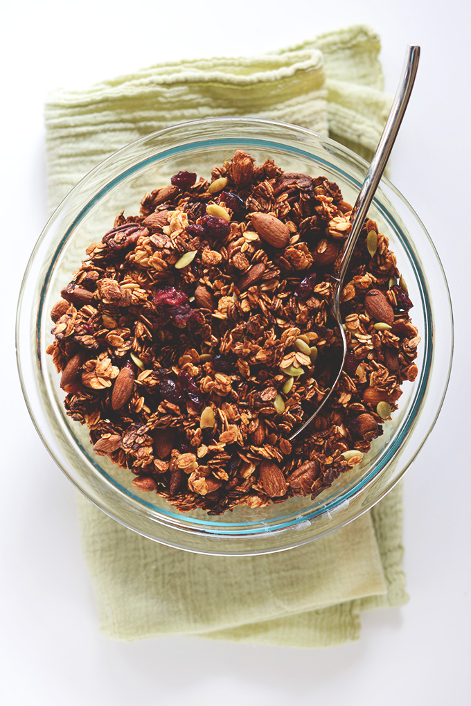 Bowl of Sweet Potato Granola for a delicious vegan snack