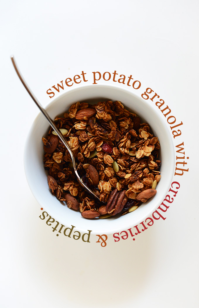 Bowl of Sweet Potato Granola made with cranberries and pepitas