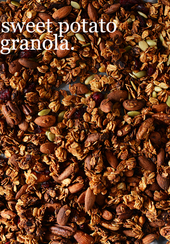 Pan of Sweet Potato Granola made with almonds and pepitas