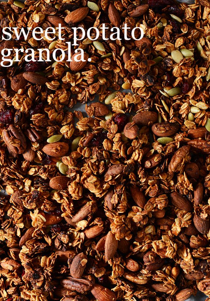 Pan of Sweet Potato Granola made with almonds and pepitas
