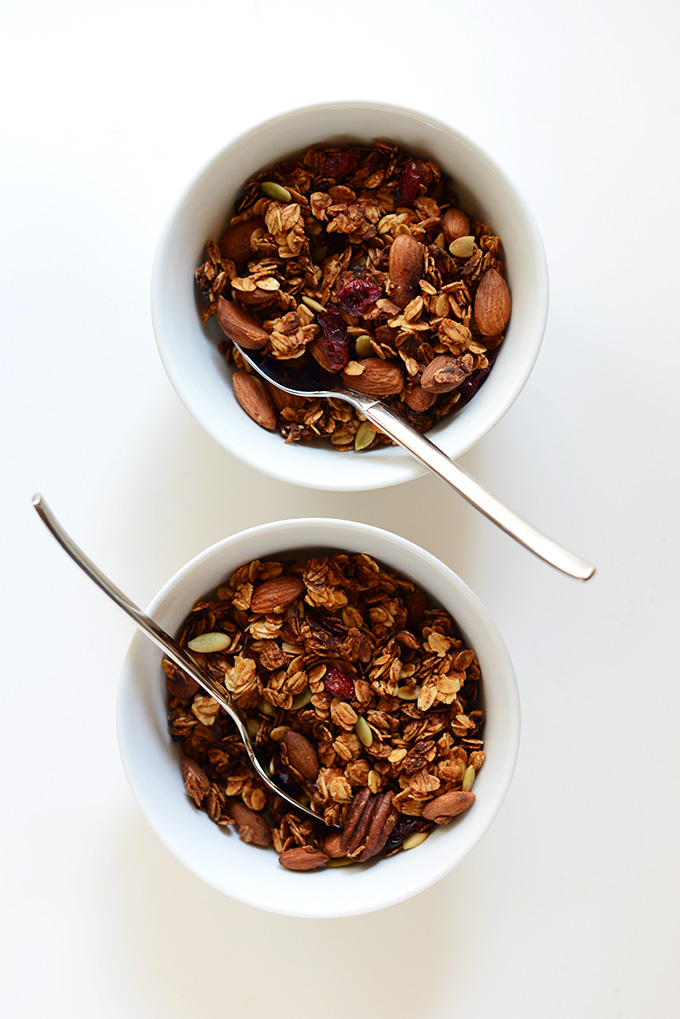 Two bowls of Sweet Potato Granola for a delicious fall breakfast