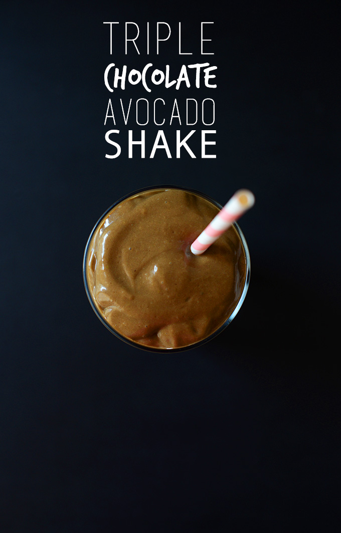 Glass of our Triple Chocolate Avocado Shake recipe with a straw