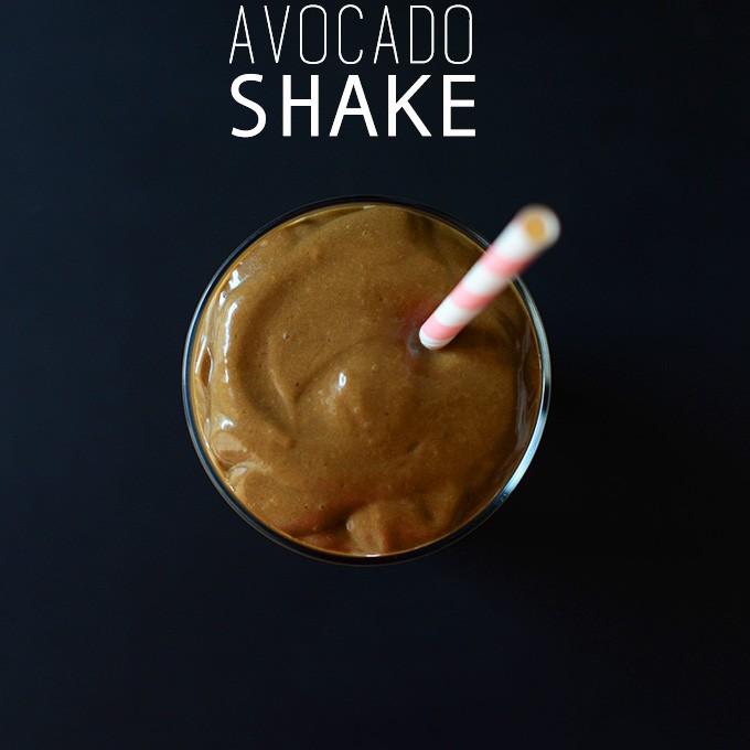Glass of our delicious Triple Chocolate Avocado Shake recipe