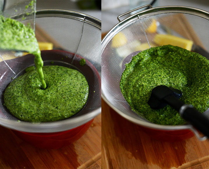 Showing how to make green juice without a juicer