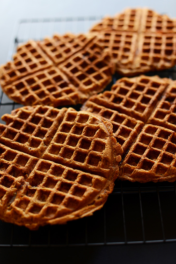 Freshly cooked batch of our Vegan Apple Waffles recipe