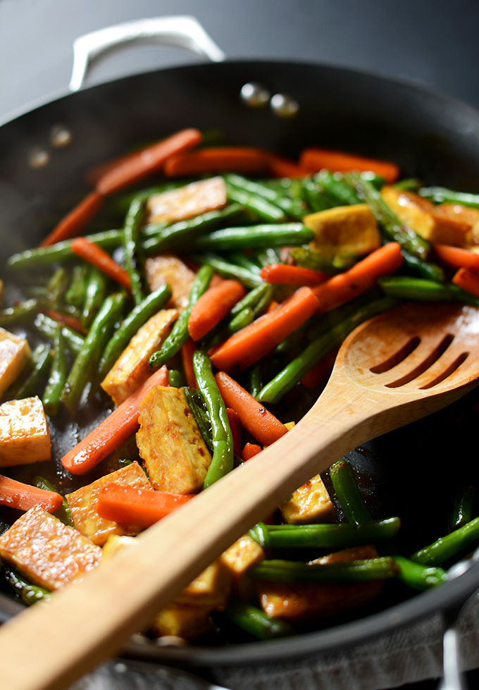 Skillet filled with the Best Tofu Stir-Fry