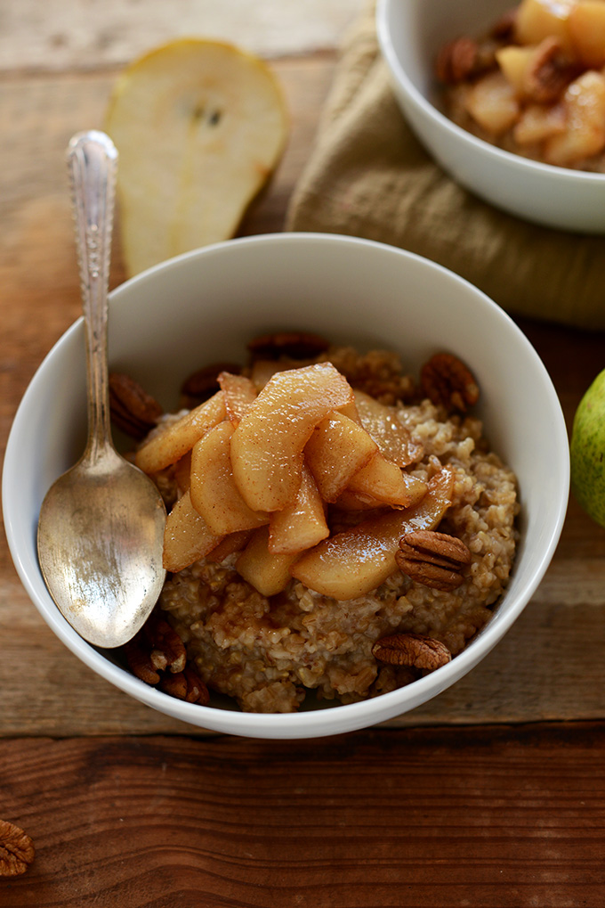 Big bowl of our Brown Sugar Pear Steel-Cut Oats recipe