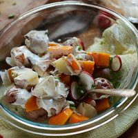 Bowl of our Creamy Butternut Squash Potato Salad recipe