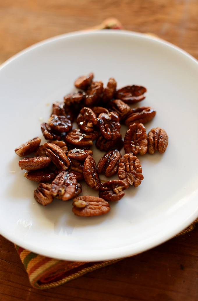 Plate of Caramelized Pecans for adding to salad