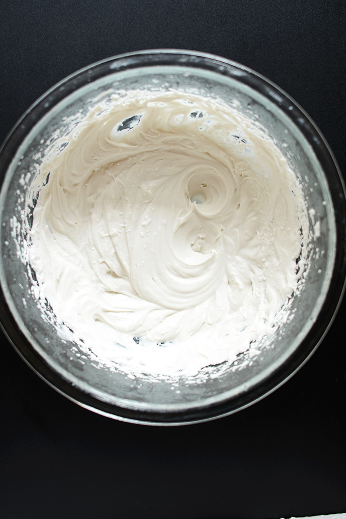 Bowl of Coconut Whipped Cream for making Vegan Dirt Cake
