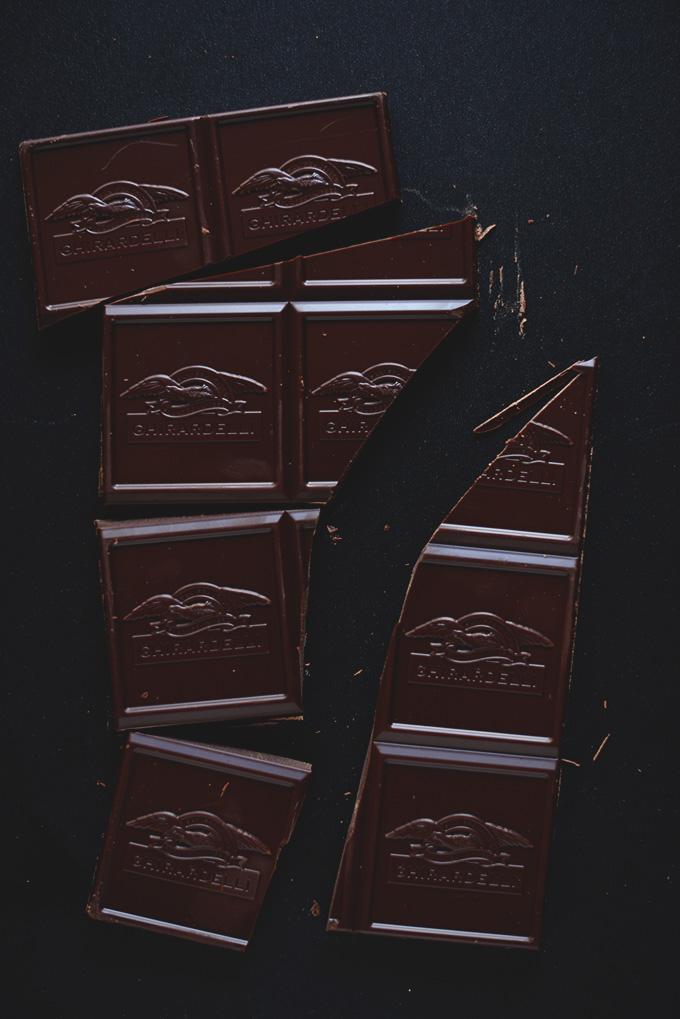 Broken apart dark chocolate bar for making Dark Chocolate Almond Butter Sandwiches