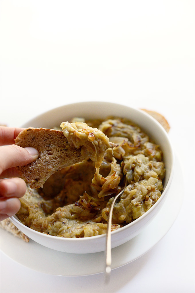 Bowl of Easy Persian Eggplant Dip for our Thanksgiving recipe roundup