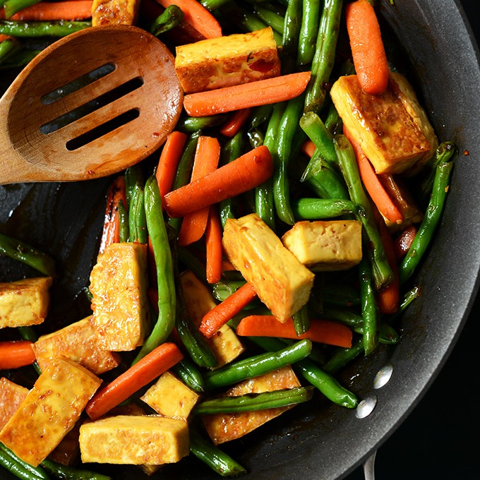 Skillet filled with Easy Tofu Stir-Fry with vegetables