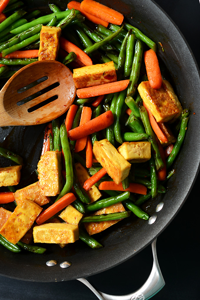 Cooking our Easy Tofu Stir-Fry recipe in a skillet