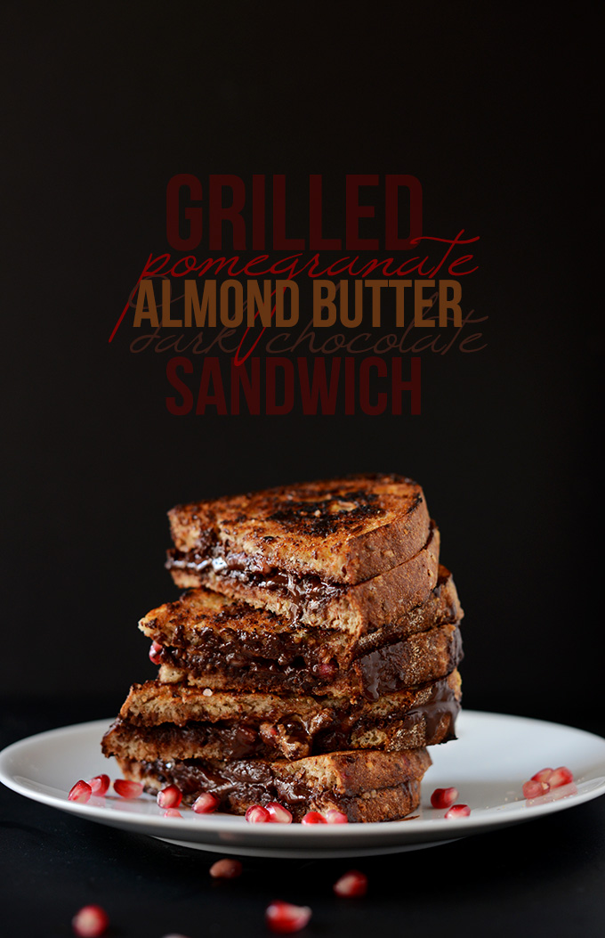 Plate stacked high with Dairy-Free Grilled Pomegranate, Almond Butter, and Dark Chocolate Sandwiches