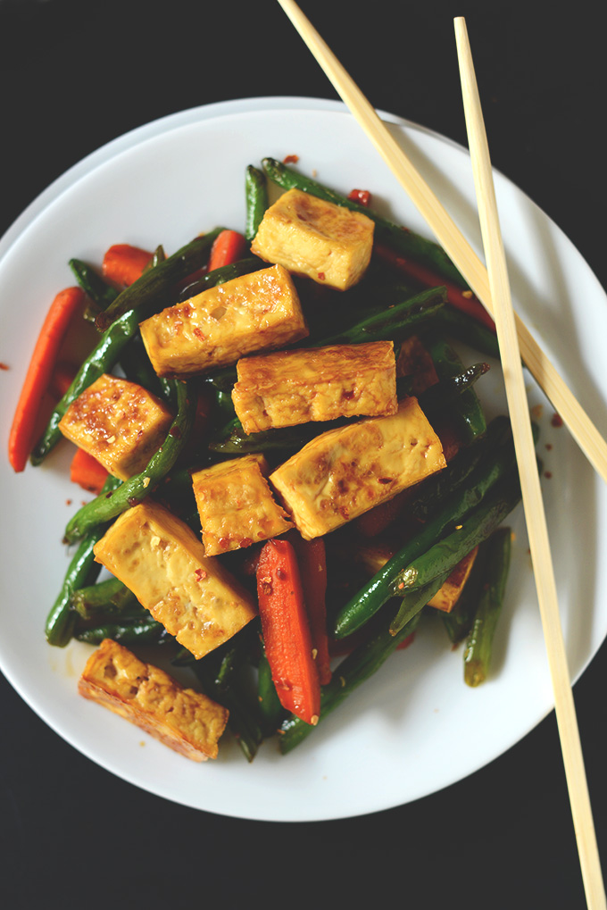 Plate of Tofu Stir Fry for a simple vegan dinner