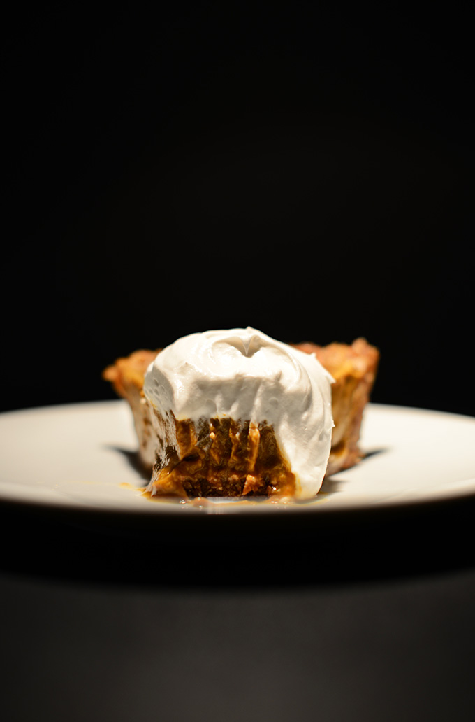 Slice of No-Bake Vegan Pumpkin Pie with the tip removed