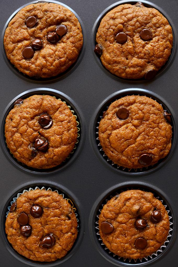 Batch of Pumpkin Chocolate Chip Muffins in a muffin tin