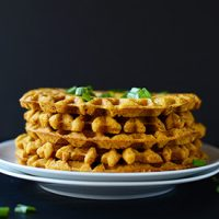 Side view of a stack of Pumpkin Cornbread Waffles