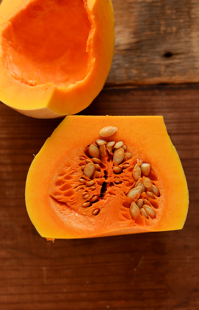 Showing the inner portion of a butternut squash