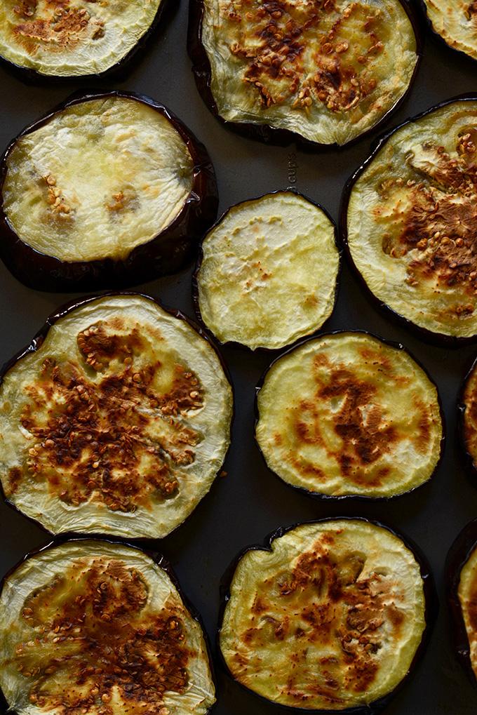 Freshly roasted eggplant slices for making Roasted Eggplant Dip