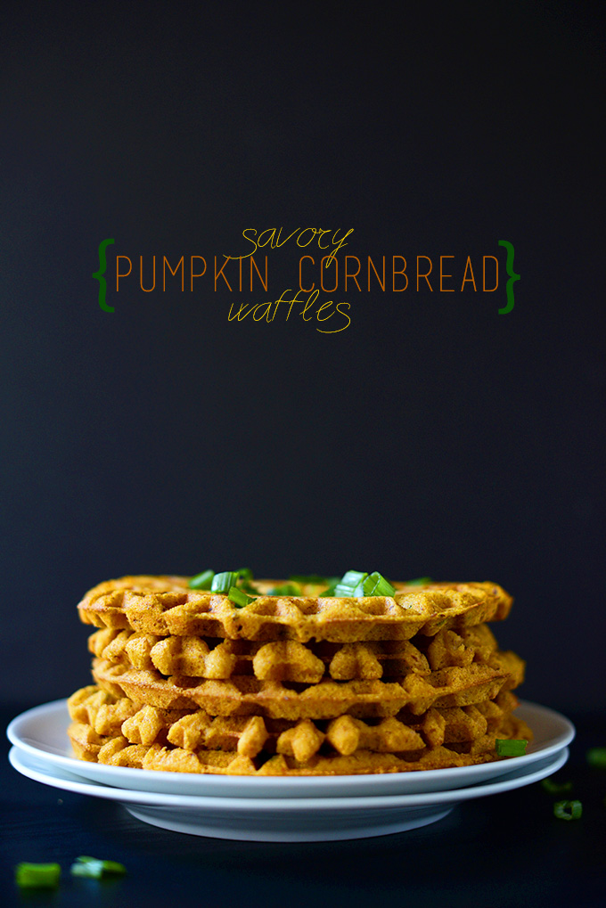 Stack of our Savory Pumpkin Cornbread Waffles recipe