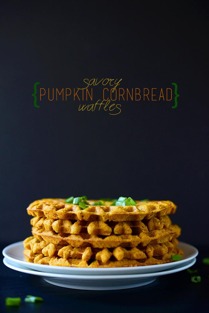 Stack of our Savory Pumpkin Cornbread Waffles recipe