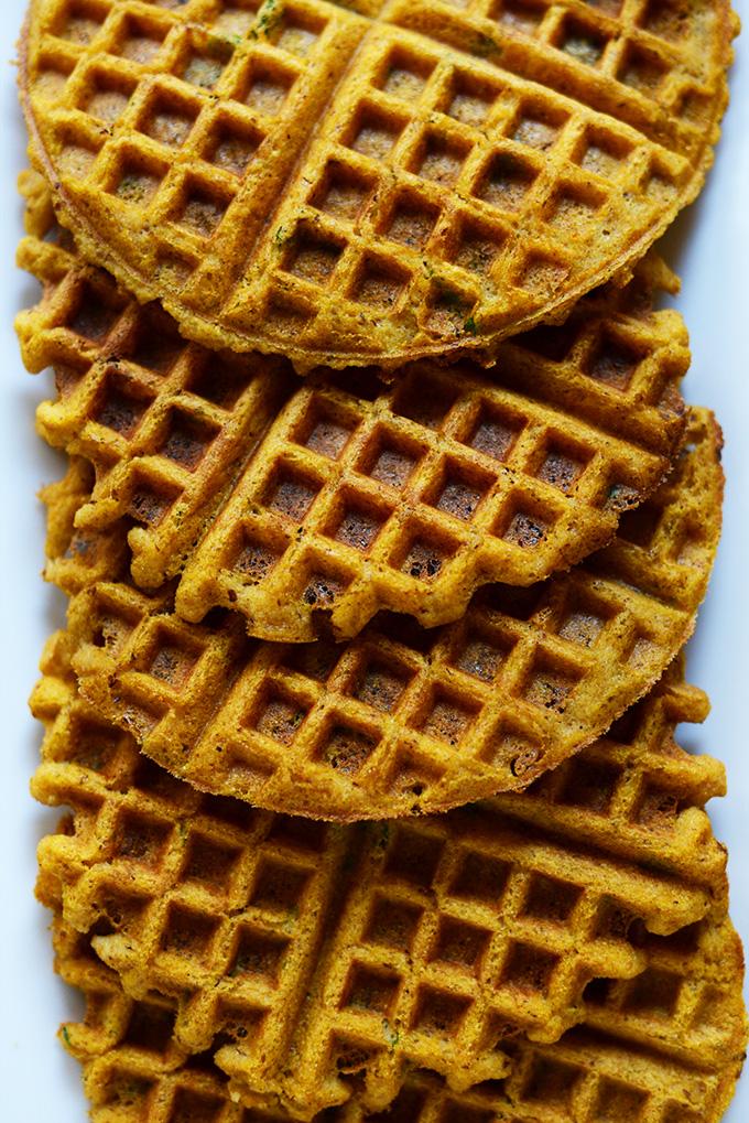 Plate of Savory Pumpkin Cornbread Waffles for a delicious vegan breakfast