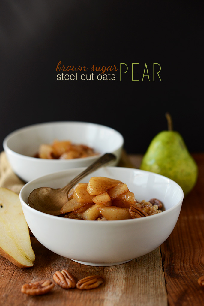 Bowls of Steel-Cut Oats topped with Caramelized Pears