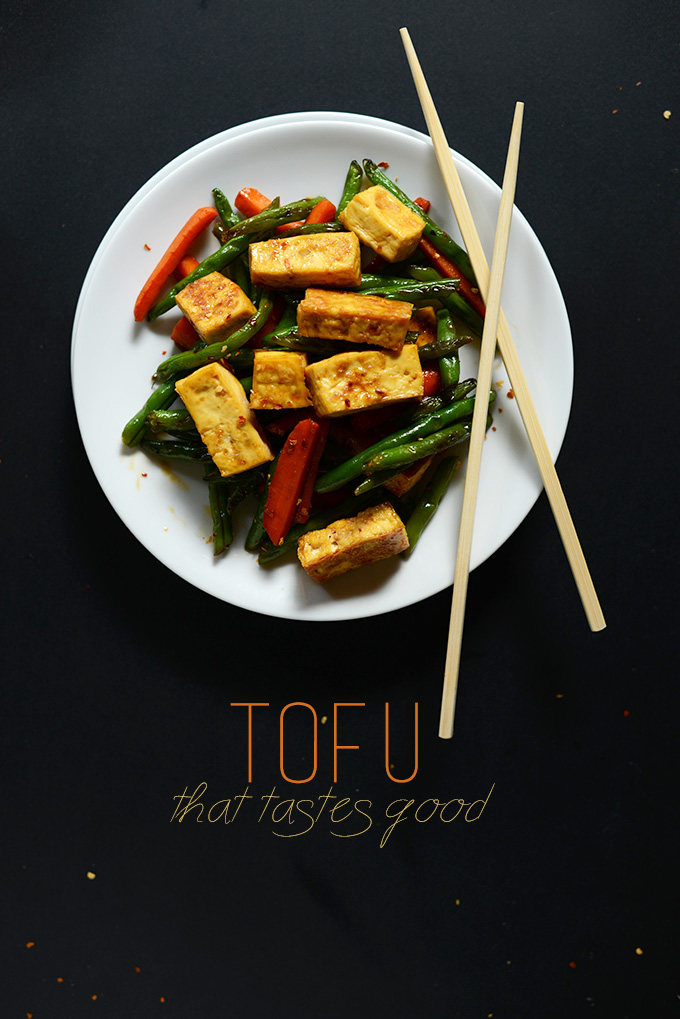 Plate of Easy Tofu Stir-Fry with chopsticks resting on it