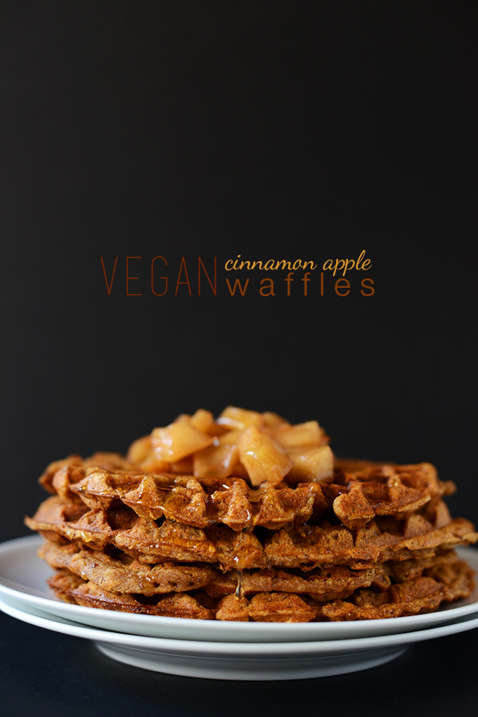 Stack of Vegan Apple Cinnamon Waffles
