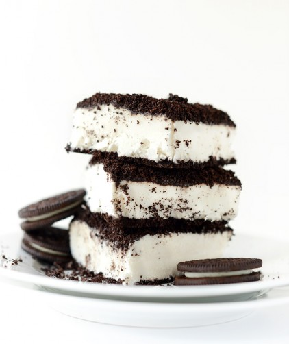 Stack of Vegan Dirt Cake squares made from oreo cookies