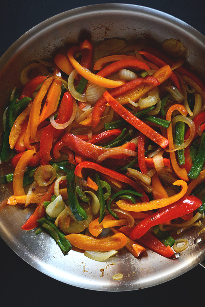 Skillet of peppers and onions for Vegan Fajitas