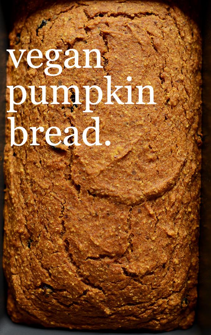 Freshly baked loaf of Vegan Pumpkin Bread