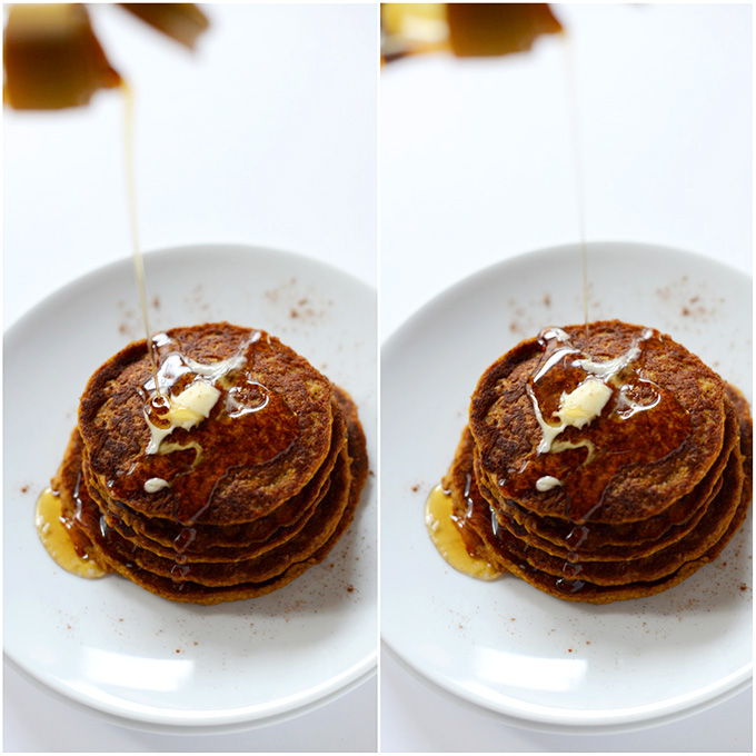 Pouring maple syrup onto a stack of Vegan Pumpkin Pancakes