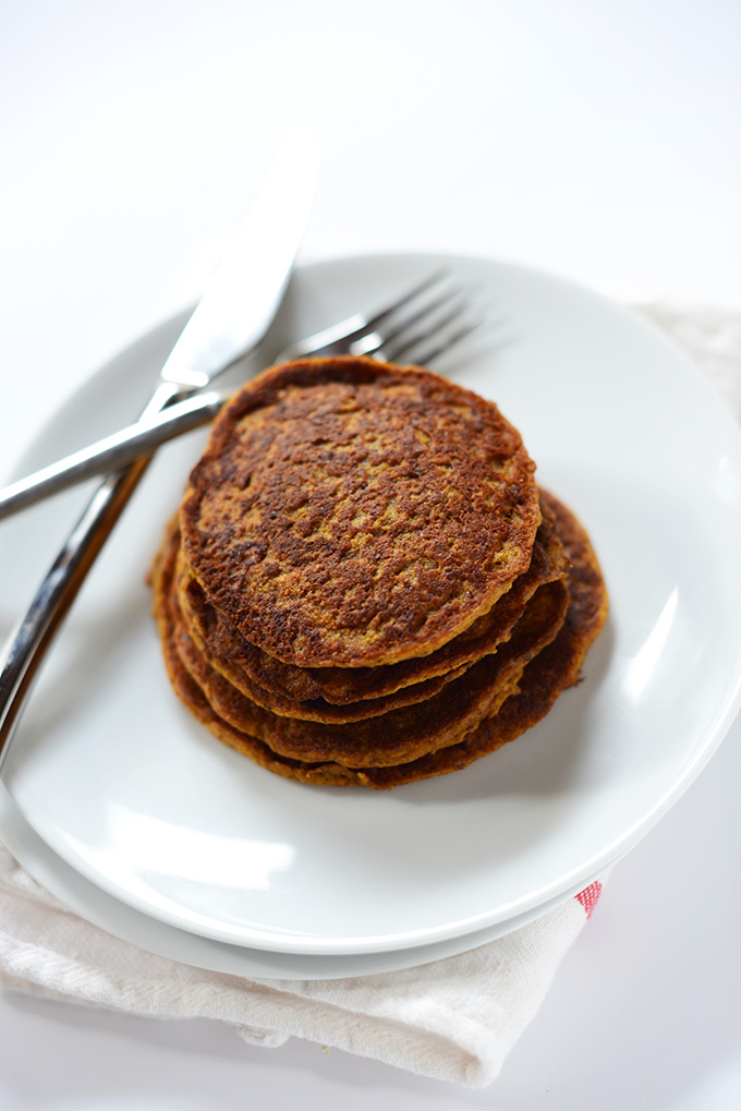 Tall stack of Vegan Pumpkin Spice Pancakes for a delicious breakfast
