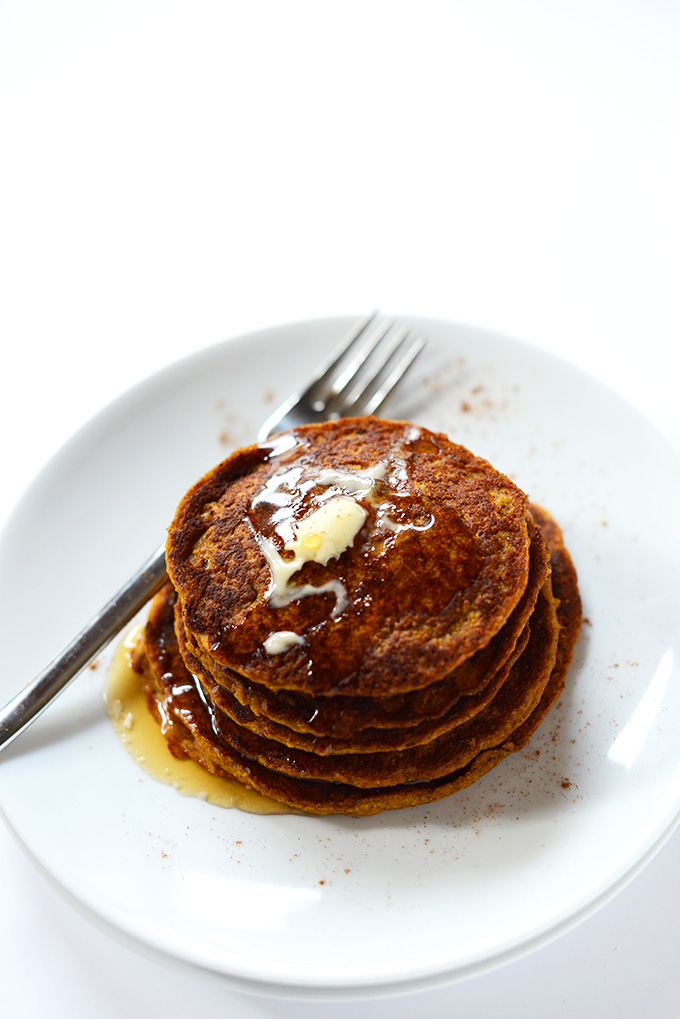 Stack of Pumpkin Spice Pancakes with vegan butter and syrup